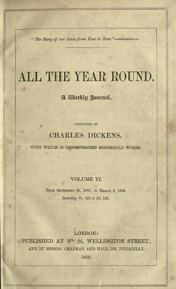Facsimile of All the Year Round, Volume VI, Page V.
