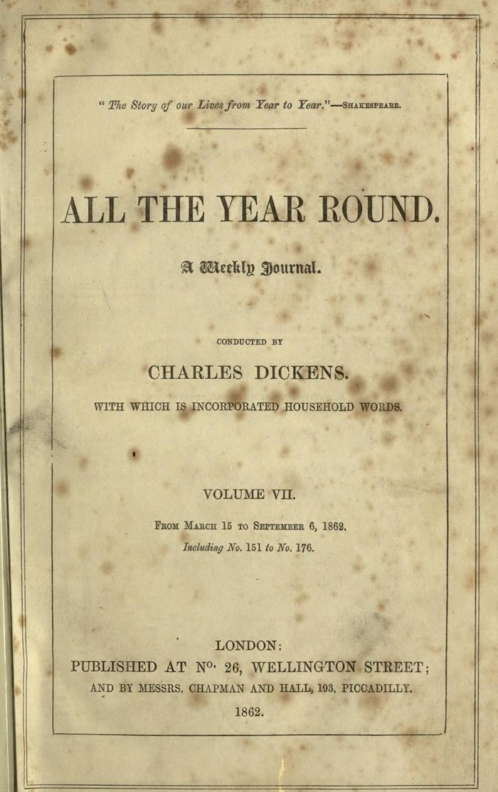 Facsimile of All the Year Round, Volume VII, Page V.