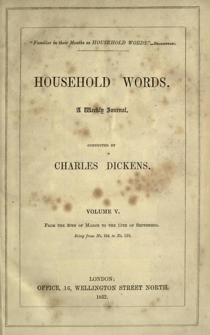 Facsimile of Household Words, Volume V, Page VII.