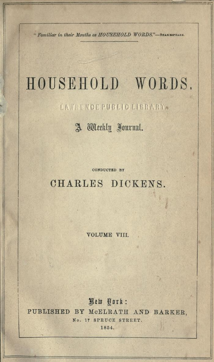 Facsimile of Household Words, Volume VIII, Page V.