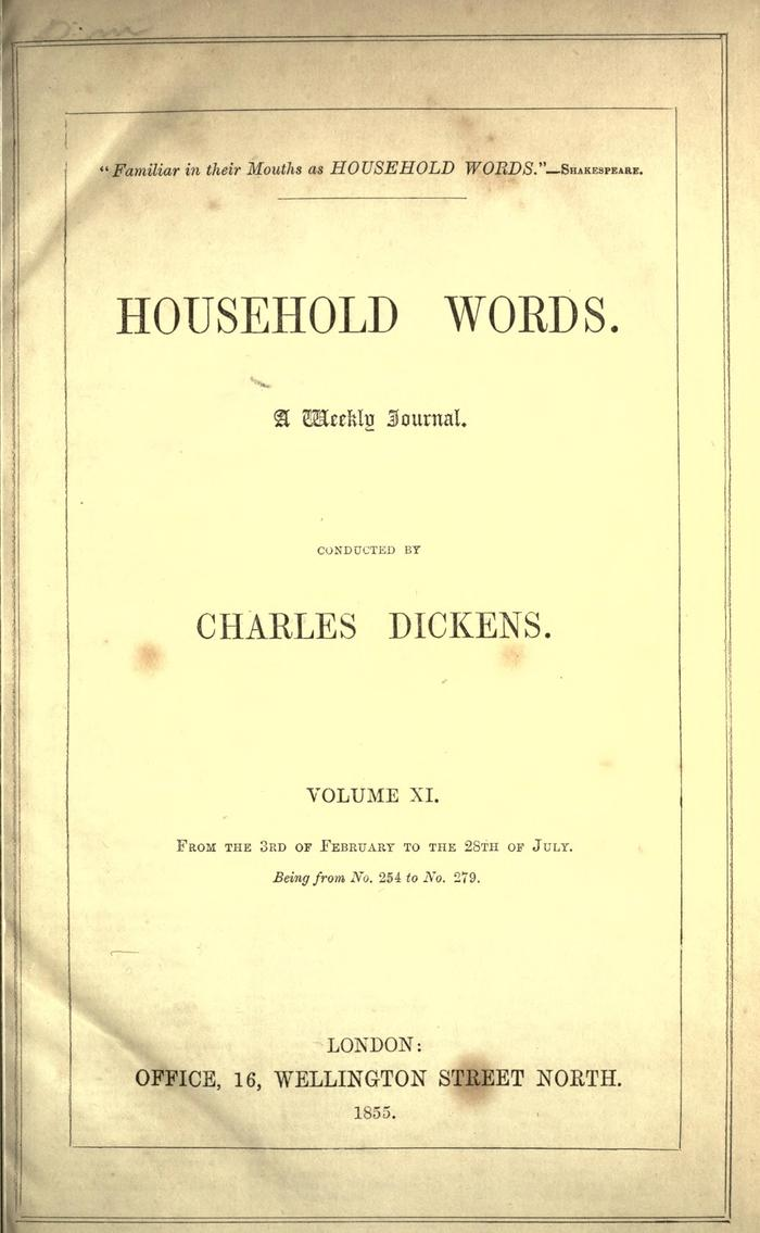 Facsimile of Household Words, Volume XI, Page VII.