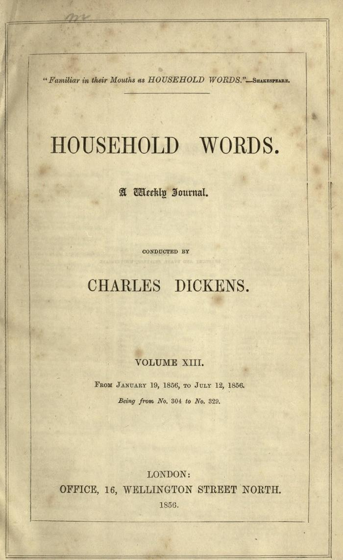 Facsimile of Household Words, Volume XIII, Page VII.