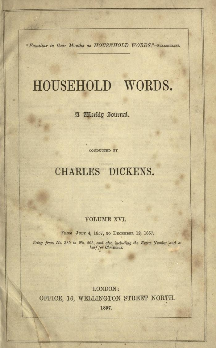 Facsimile of Household Words, Volume XVI, Page V.
