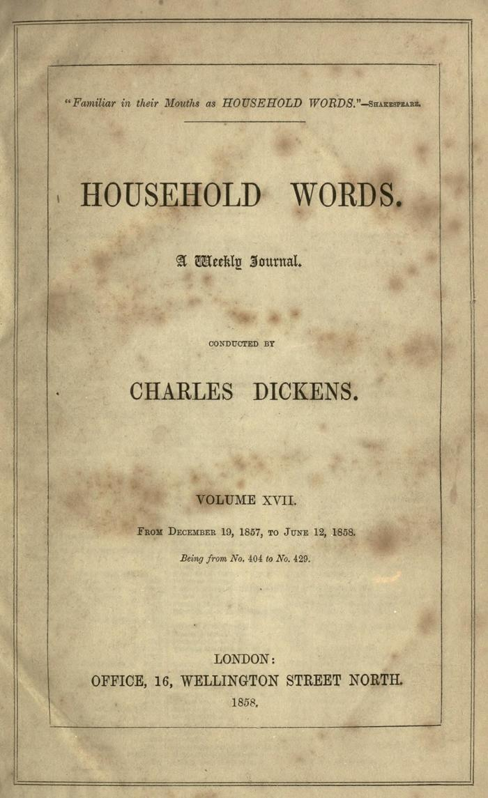 Facsimile of Household Words, Volume XVII, Page V.