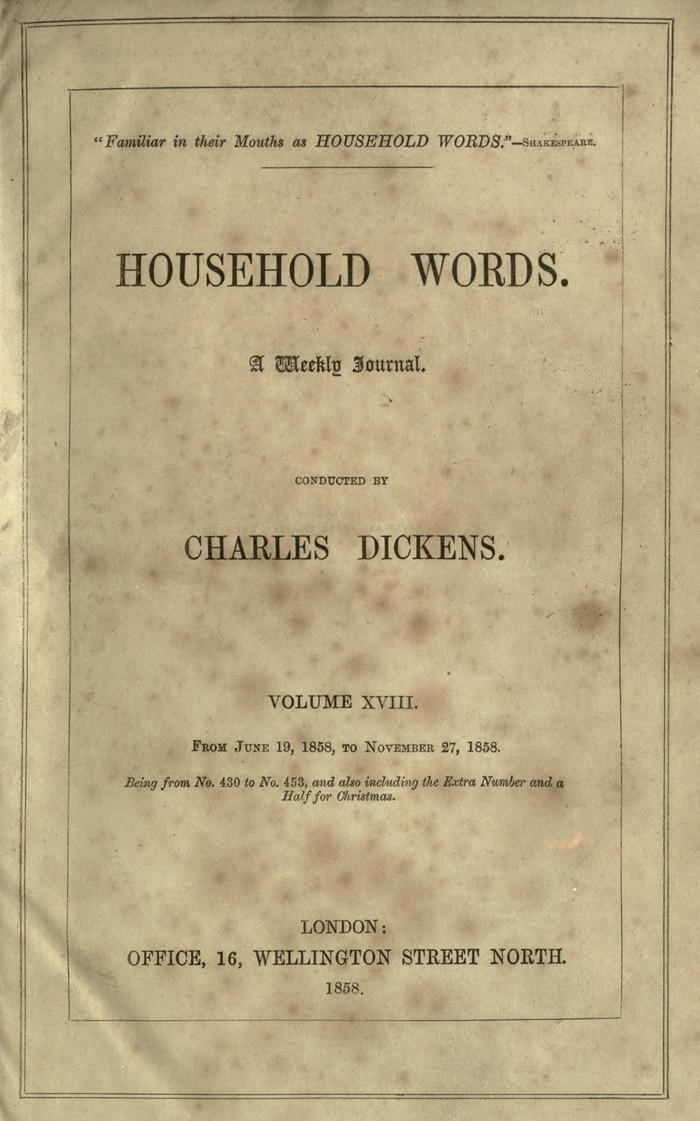 Facsimile of Household Words, Volume XVIII, Page V.