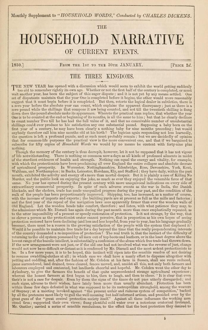 Facsimile of Household Words Narrative, Year 1850, Page 1.