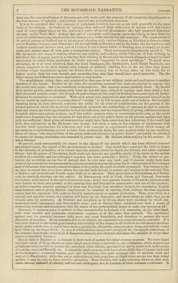 Facsimile of Household Words Narrative, Year 1850, Page 2.