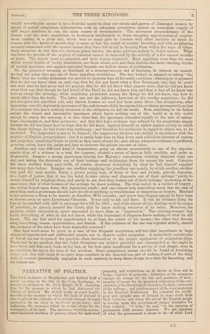 Facsimile of Household Words Narrative, Year 1850, Page 3.