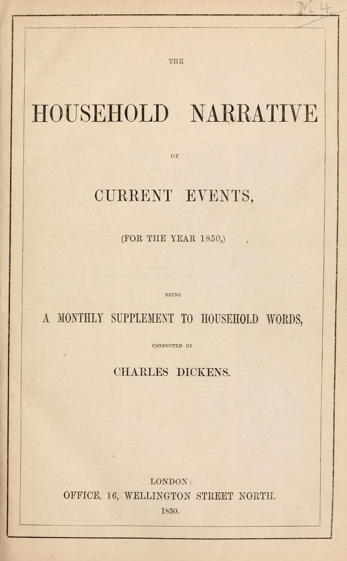 Facsimile of Household Words Narrative, Year 1850, Page V.