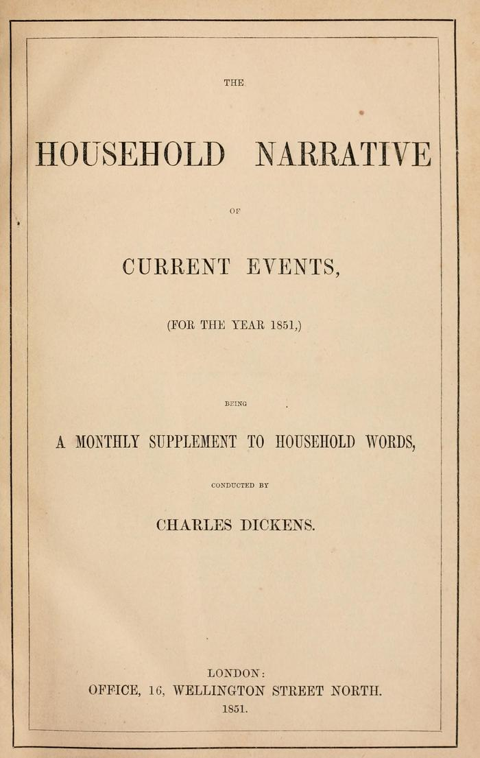 Facsimile of Household Words Narrative, Year 1851, Page V.
