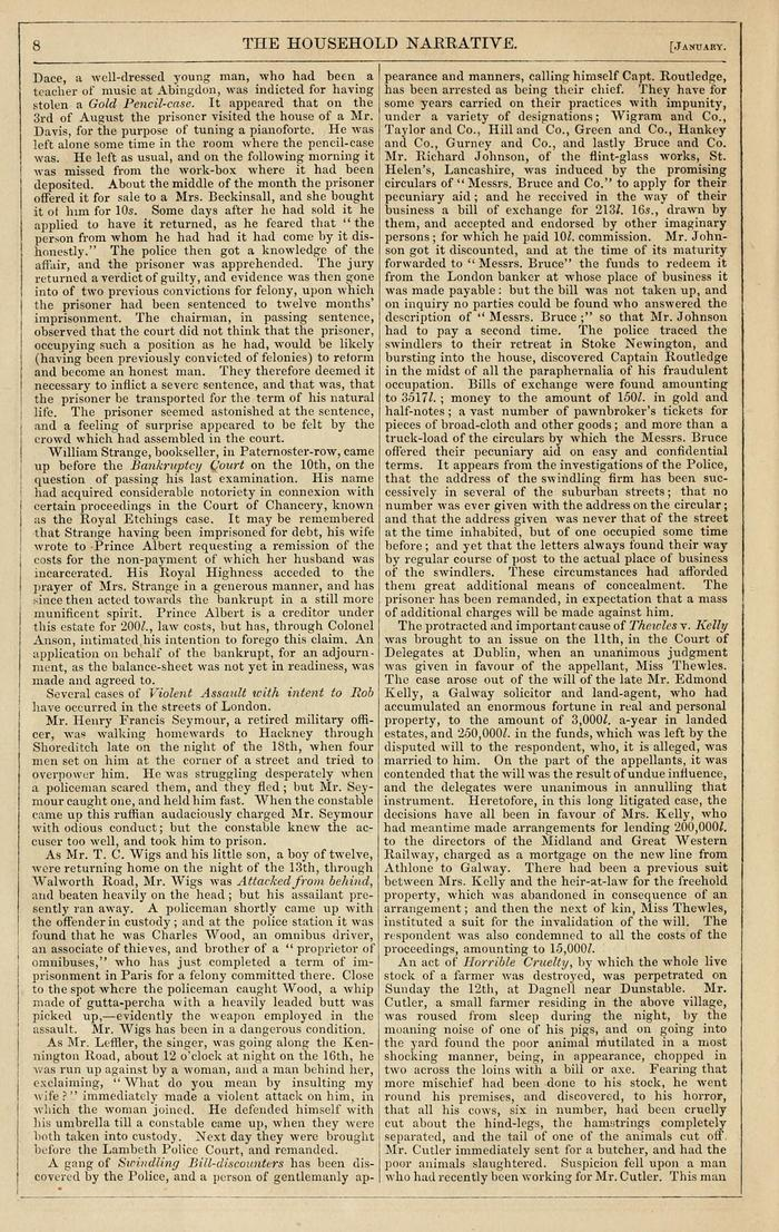 Facsimile of Household Words Narrative, Year 1851, Page 8.