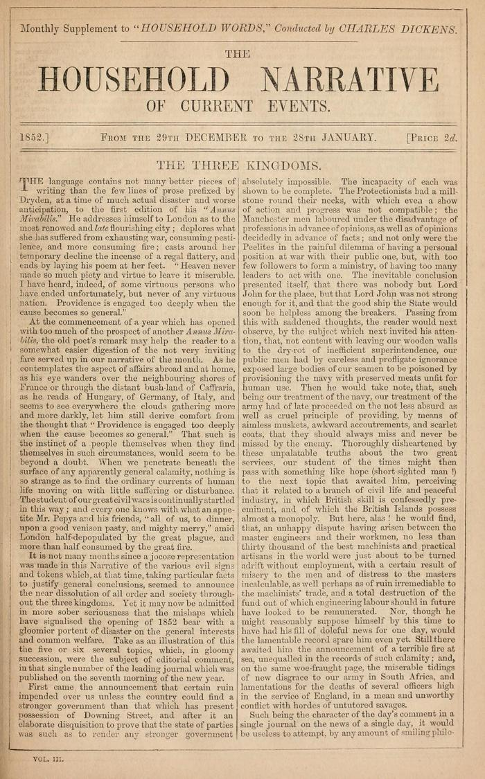 Facsimile of Household Words Narrative, Year 1852, Page 1.