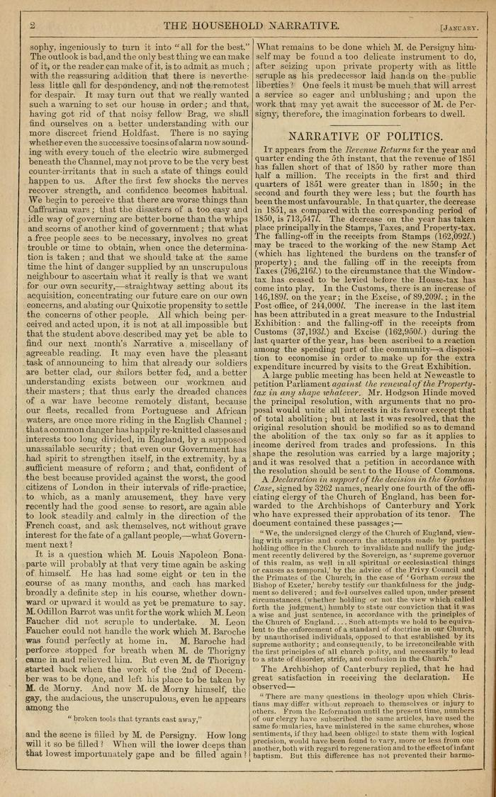 Facsimile of Household Words Narrative, Year 1852, Page 2.