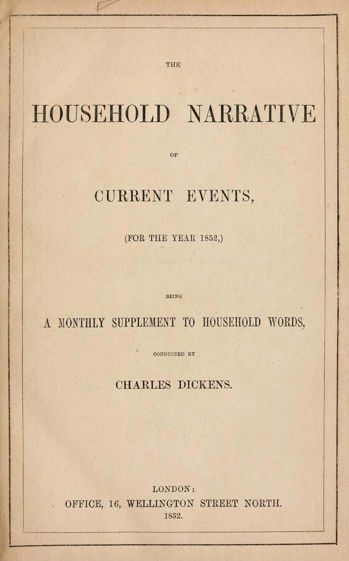 Facsimile of Household Words Narrative, Year 1852, Page V.