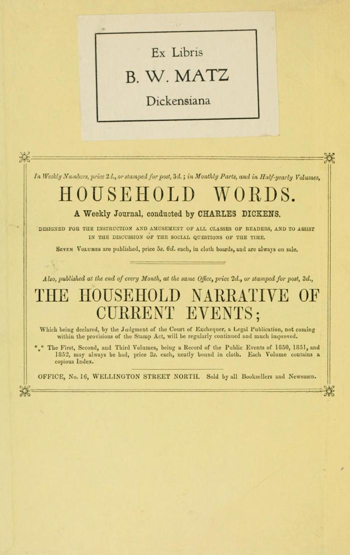 Facsimile of Household Words Narrative, Year 1853, Page II.