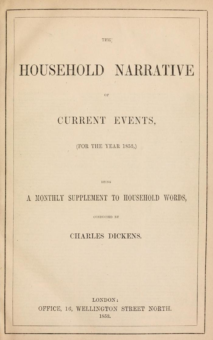 Facsimile of Household Words Narrative, Year 1853, Page V.