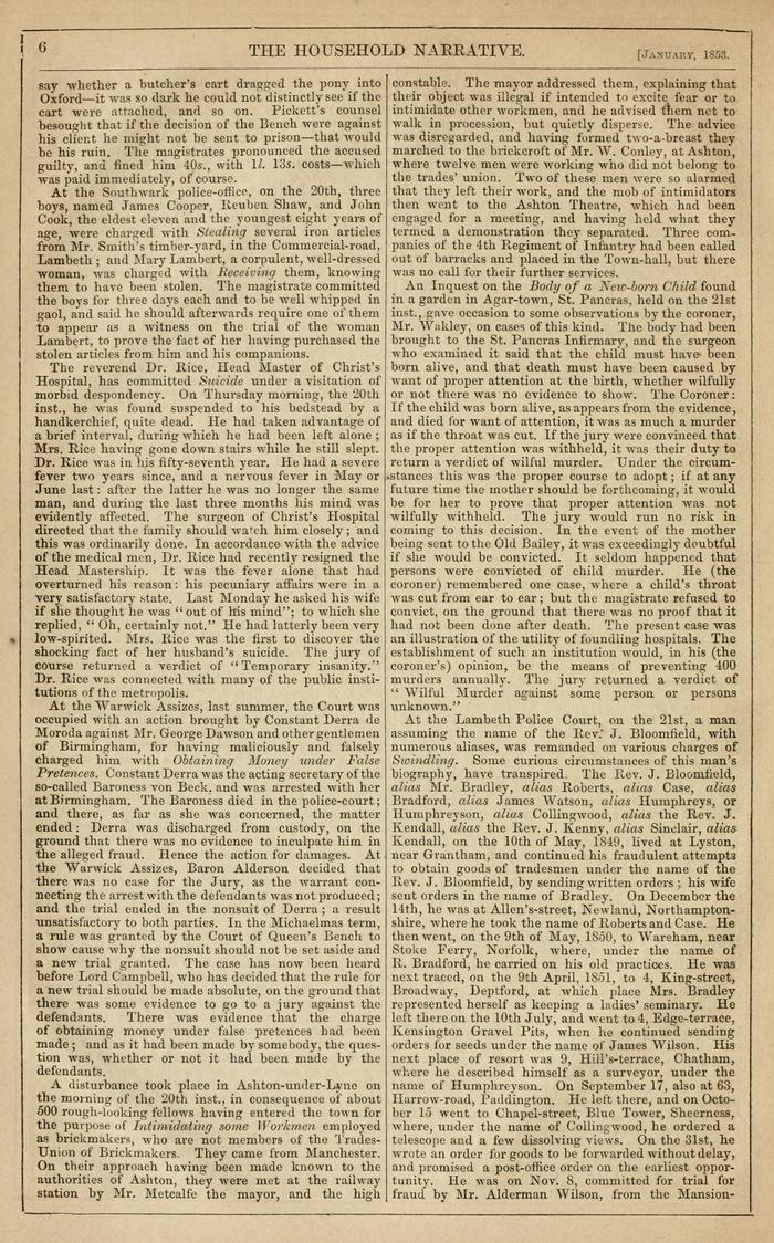 Facsimile of Household Words Narrative, Year 1853, Page 6.