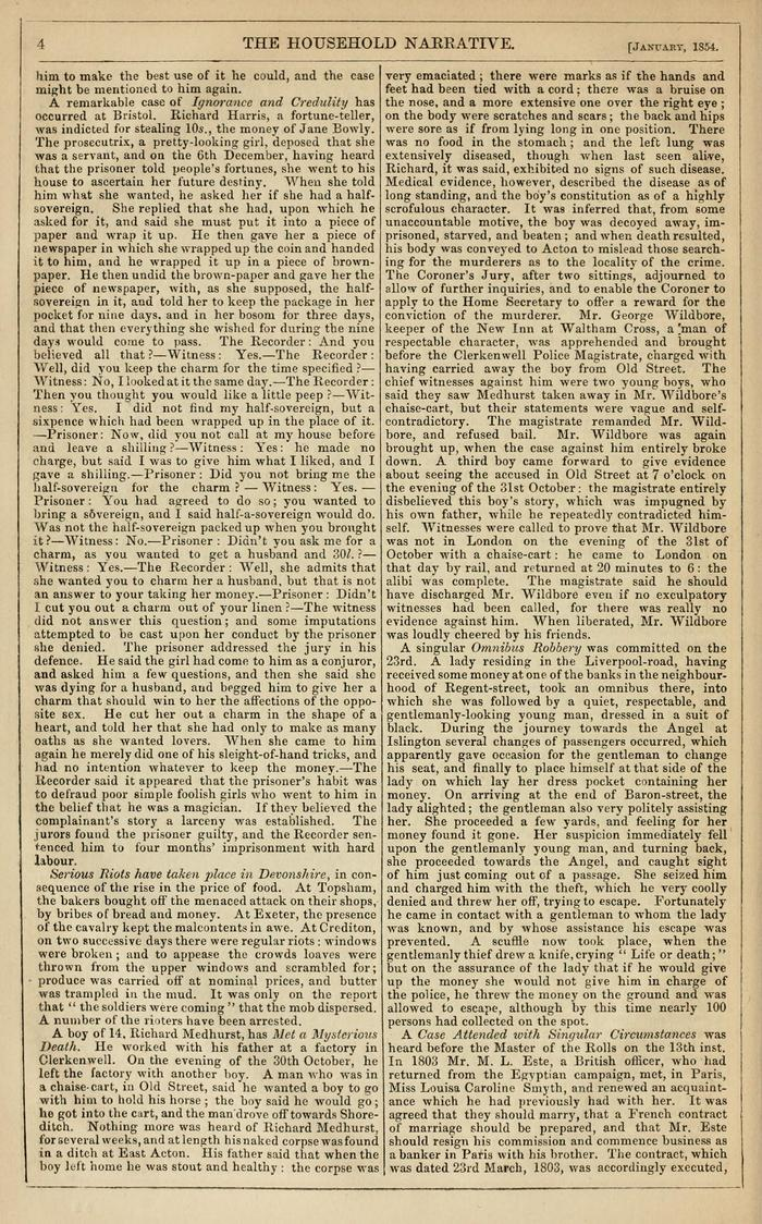 Facsimile of Household Words Narrative, Year 1854, Page 4.