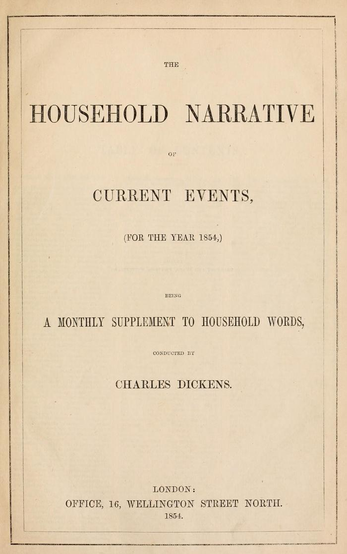 Facsimile of Household Words Narrative, Year 1854, Page V.