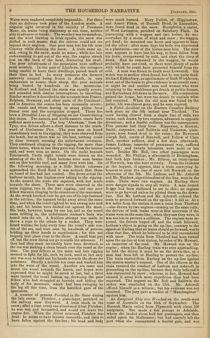 Facsimile of Household Words Narrative, Year 1854, Page 8.