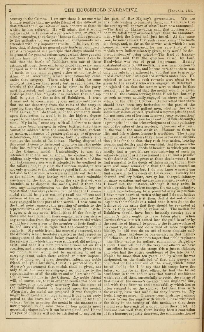 Facsimile of Household Words Narrative, Year 1855, Page 2.
