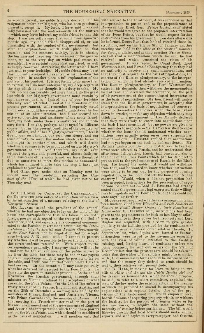 Facsimile of Household Words Narrative, Year 1855, Page 4.