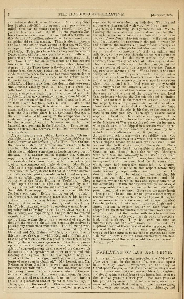 Facsimile of Household Words Narrative, Year 1855, Page 6.